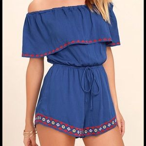 Lulus Oaxaca Embroidered Off-the-Shoulder Romper
